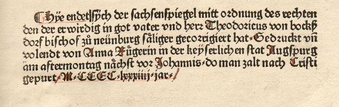 Anna Rugerin, Colophon Sachsenspeigel 1484