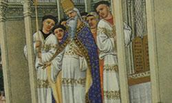 Detalle de ilustración iluminada del libro las tres ricas horas del Duque de Berry