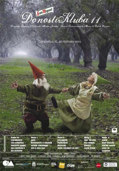 Cartel donostikluba diseñado porHerederos de Rowan pareja de enanos bailando