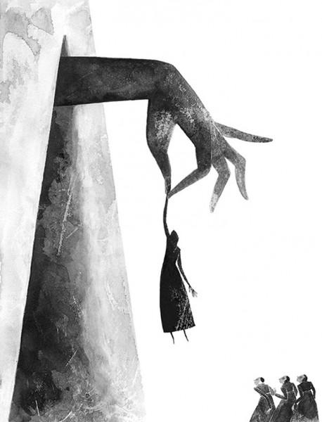 Maite Gurrutxaga ilustratzaileaneska esku batetik zintzilik