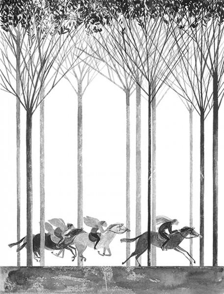 Maite Gurrutxaga ilustratzaileaneska zaldi lasterketa basoan
