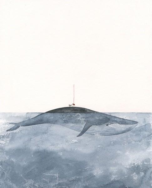 Maite Gurrutxaga ilustratzailea balea etxearekin gainean