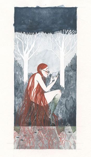 Maite Gurrutxaga ilustratzailea lamia irakurtzen liburuen egunerako ilustrazioa