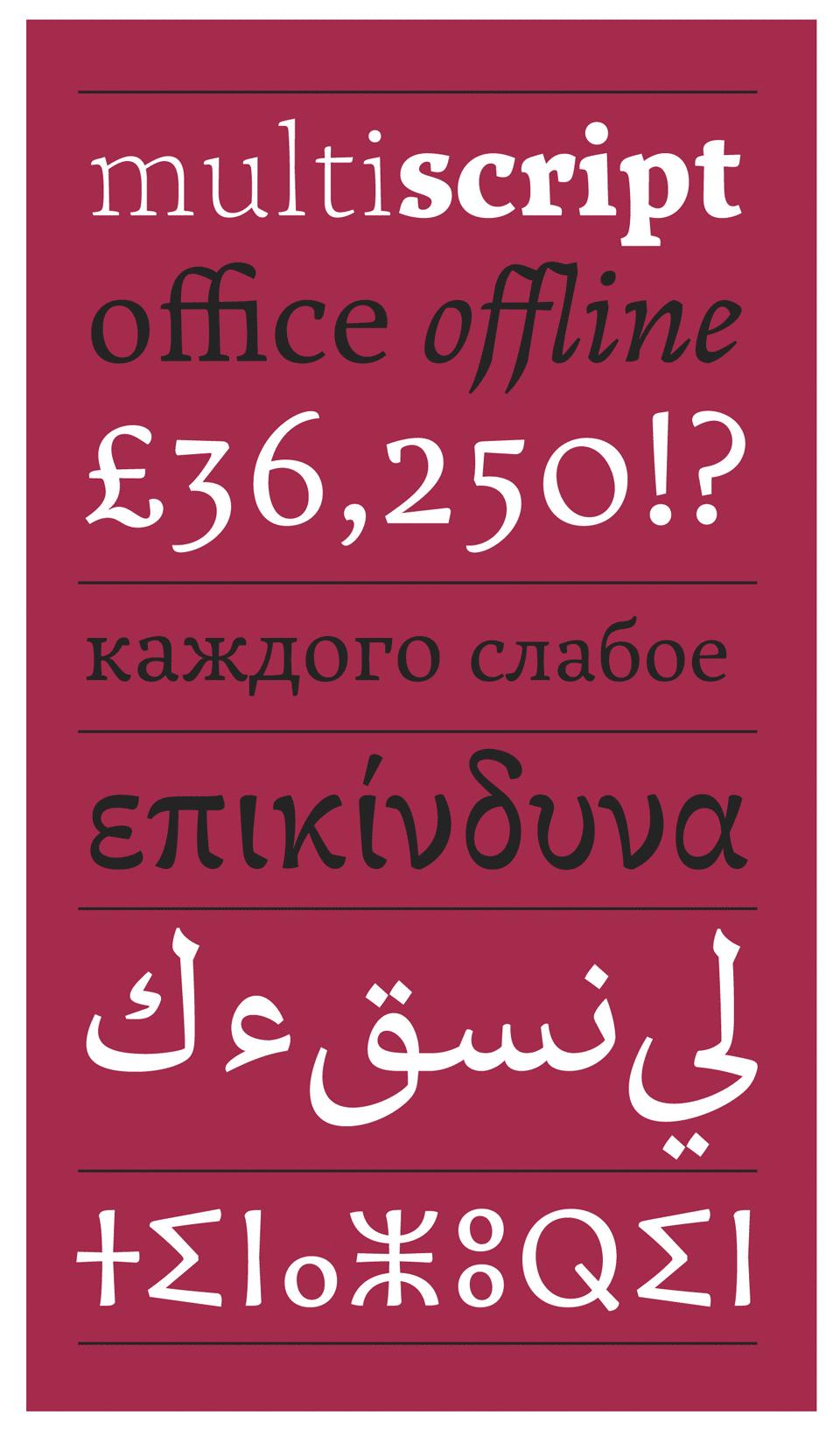 Muestra de las opciones multiscript de la tipografía Hamaikka - Juan Luis Blanco