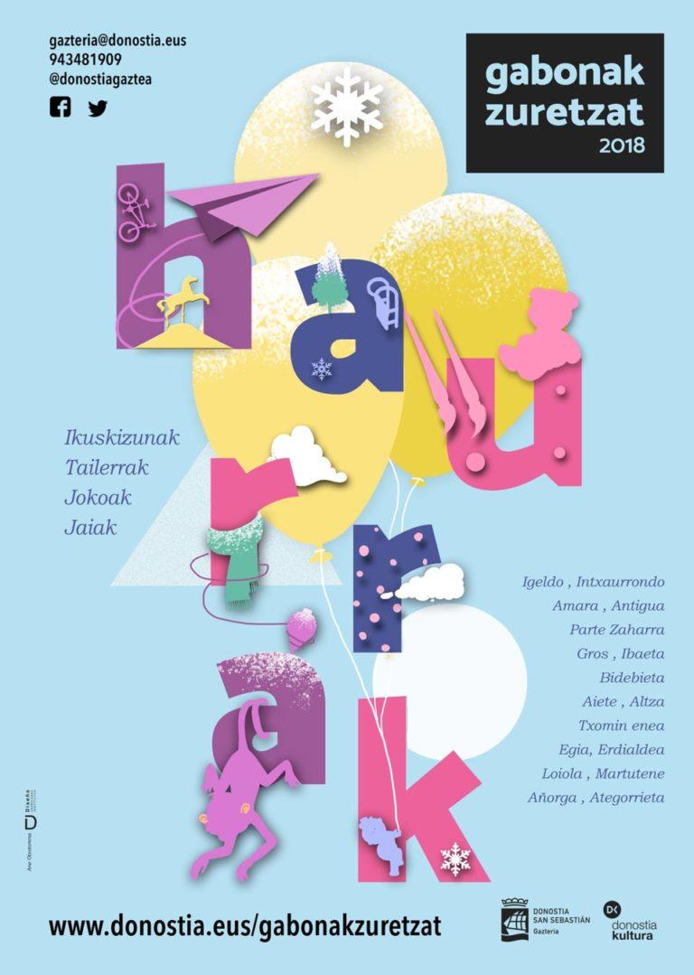 Diseño de Cartel Gabonak Zuretzat Haurrak 2018 Ane Otxotorena