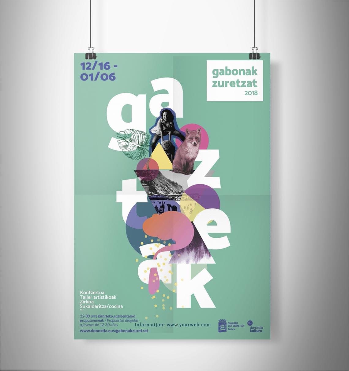 Diseño de Cartel Gabonak Zuretzat Gazteak 2018 Anna Schimpf