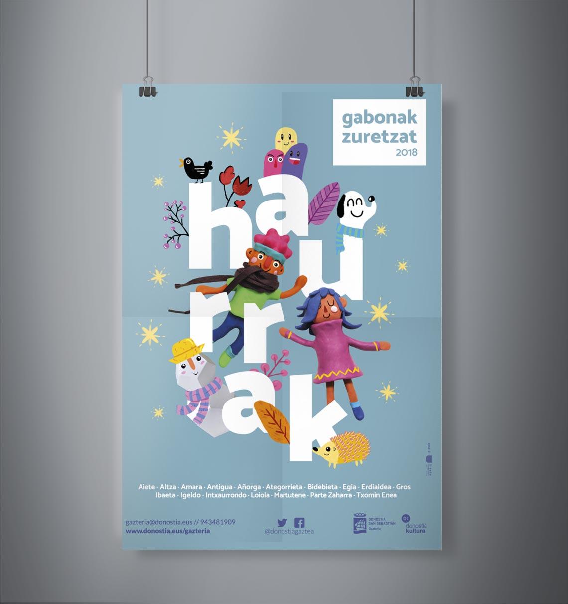 Diseño de Cartel Gabonak Zuretzat 2018 Haurrak Ibai Jauregi