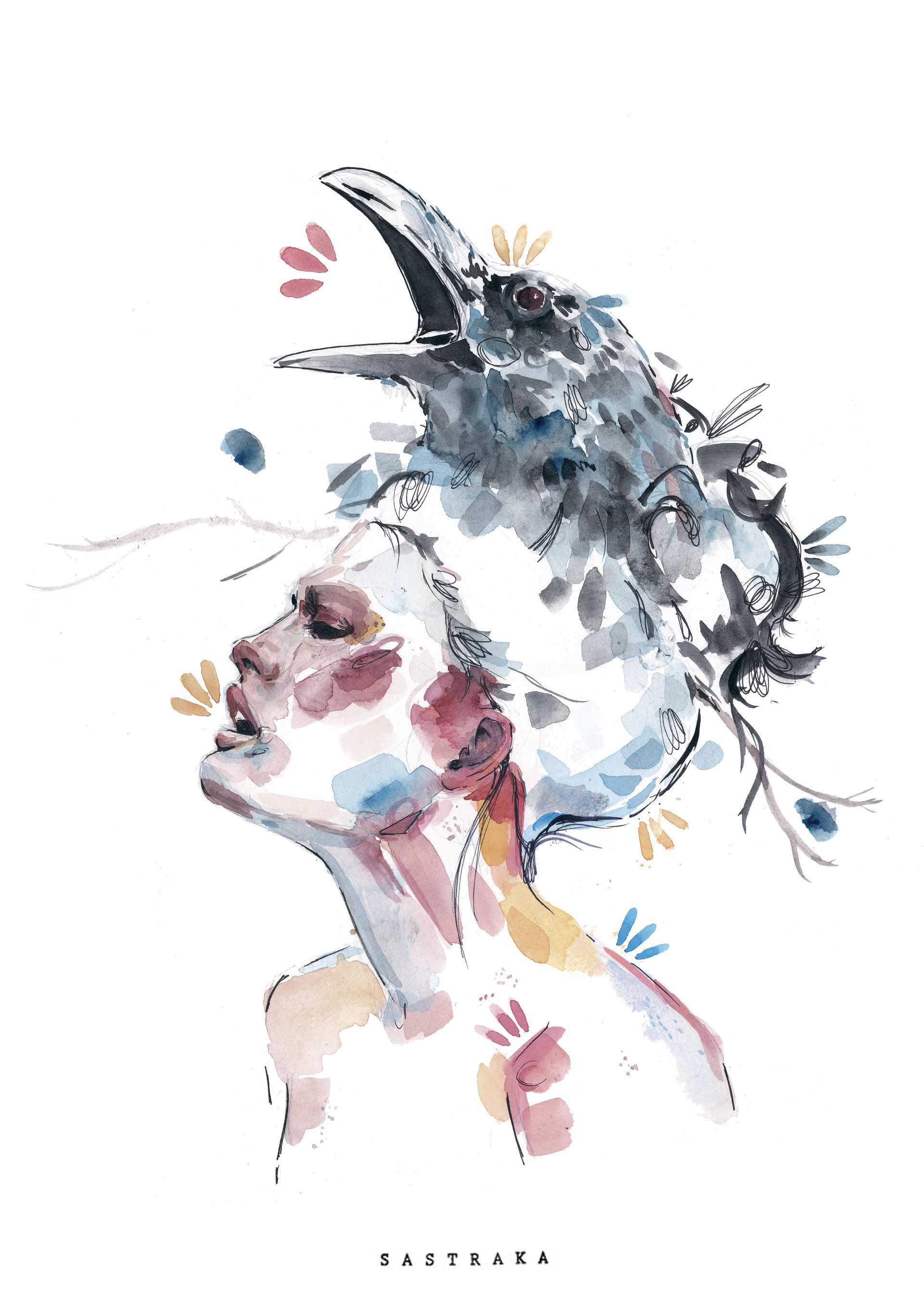 hambre, Carolina Corvilloren Hambre de Pájaro libururako ilustrazioa, sastraka