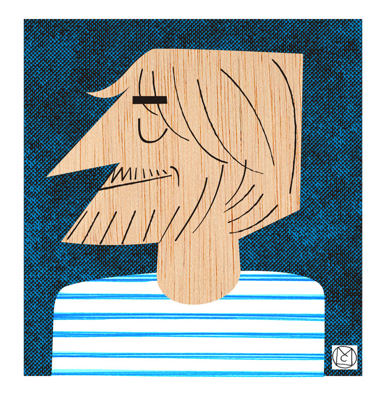Autorretrato, ilustración, caricatura - Mikel Casal