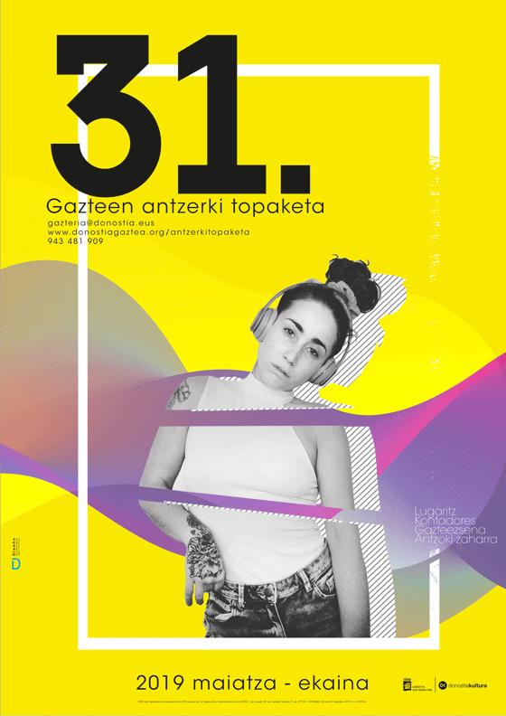 Propuesta de Cartel de Miren MAia para la 31 edición Gazte Antzerki Topaketak de Donostia