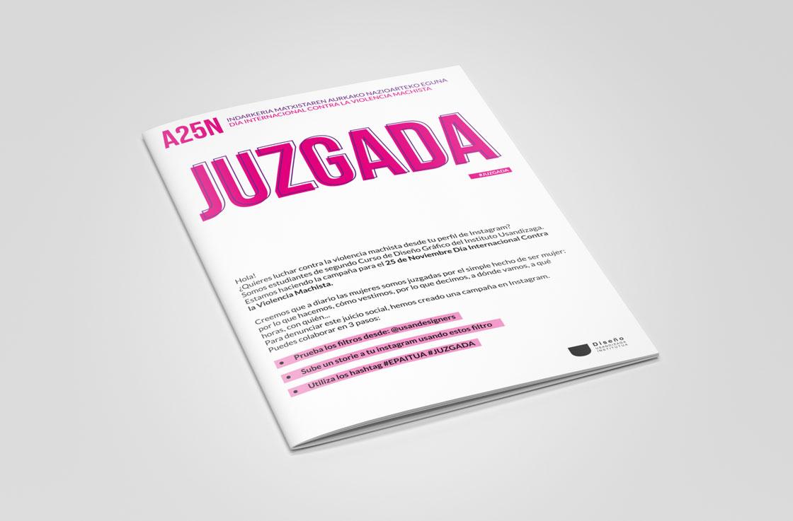 JUZGADA: Folleto campaña contra la violencia de género diseñada en el Ciclo Formativo Grado Superior Usandizaga Diseño