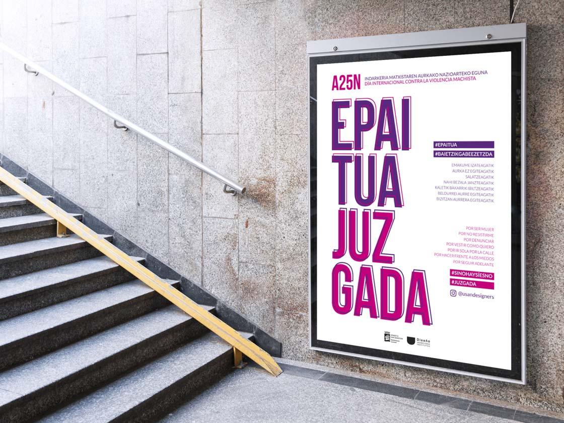 JUZGADA: Cartel grande campaña contra la violencia de género diseñada en el Ciclo Formativo Grado Superior Usandizaga Diseño