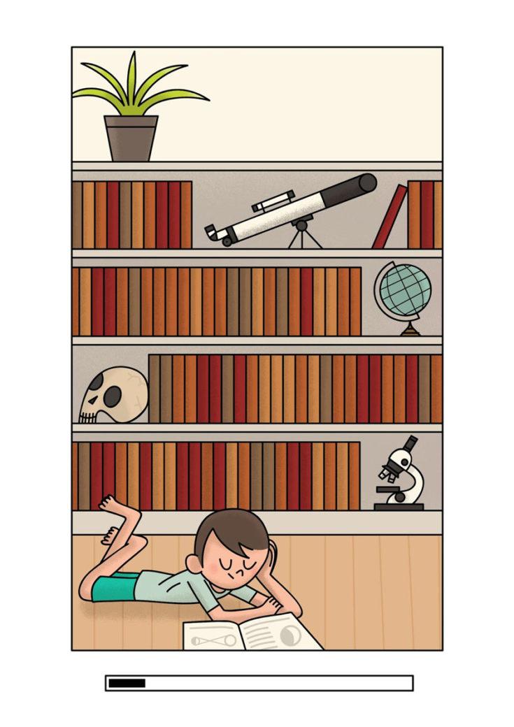 Alexander Fernandez Ilustrador: Aran ilustración de niño leyendo