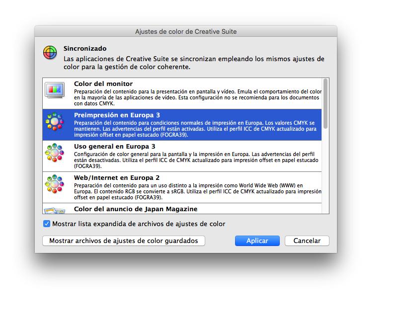Gestión de perfiles de color en Adobe Bridge
