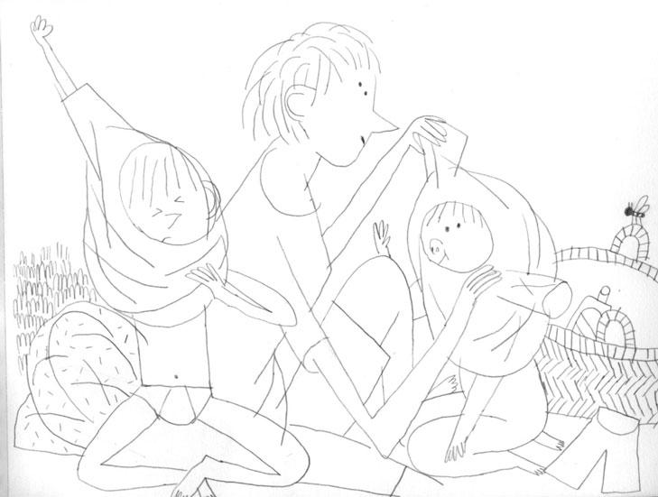 Alexander Fernandez Ilustrador: Aran ilustración en blanco y negro de linea fina de mujer con niño