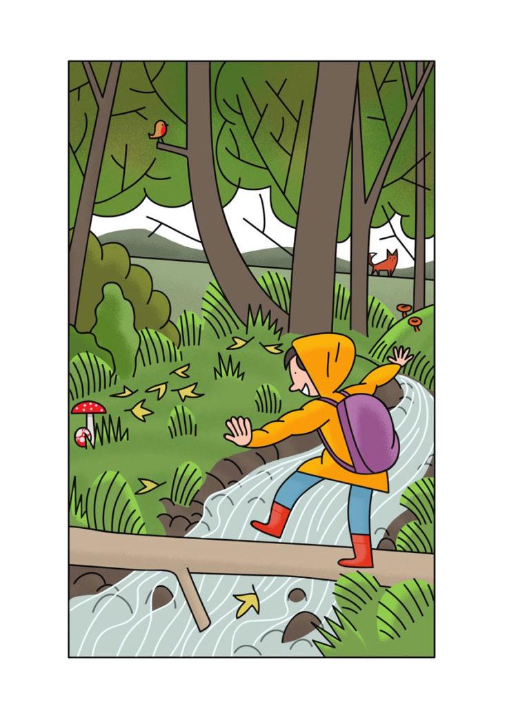 Alexander Fernandez Ilustrador: Aran ilustración de niño pasando sobre un tronco en el rio