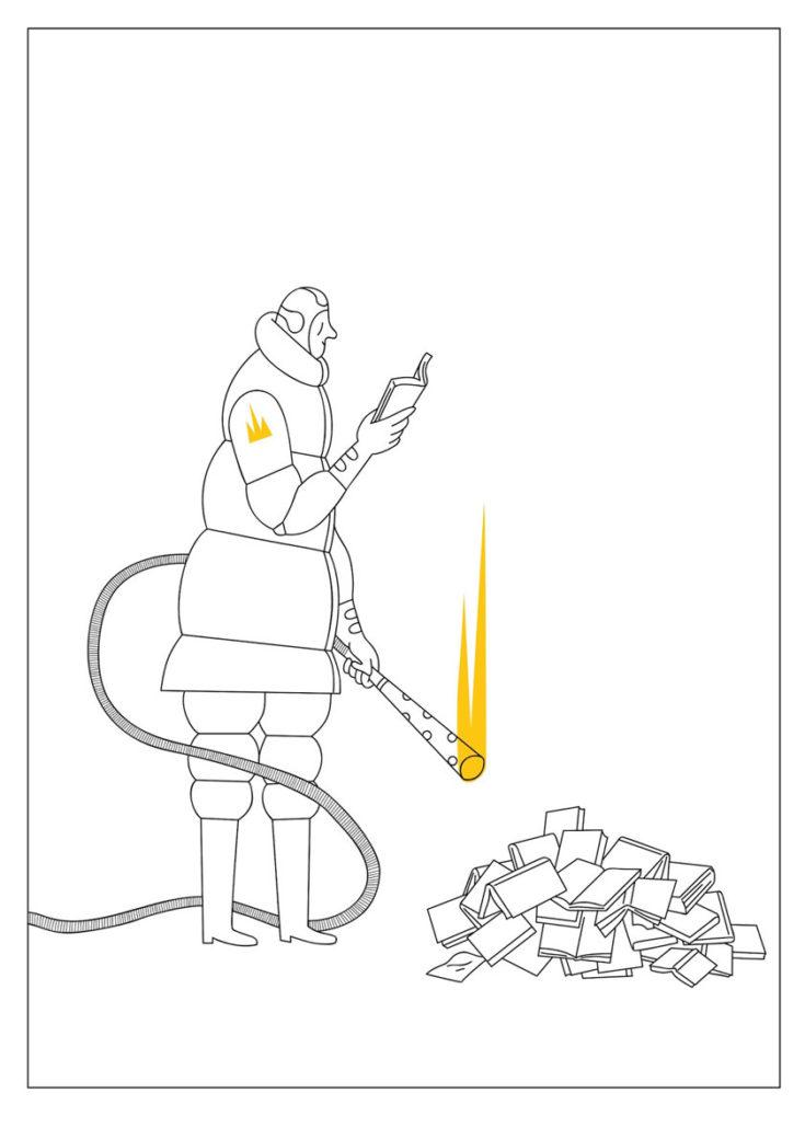 Alexander Fernandez Ilustrador: Aran ilustración en blanco y negro de linea fina de persona quemando libros