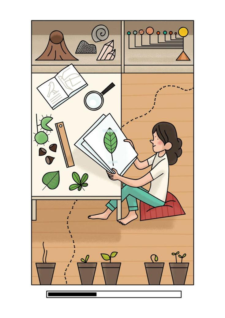 Alexander Fernandez Ilustrador: Aran ilustración color en digital de chica dibujando