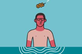 Alexander Fernandez Ilustrador: Mimateix ilustración digital de hombre en el agua con una hoja cayéndole sobre la cabeza