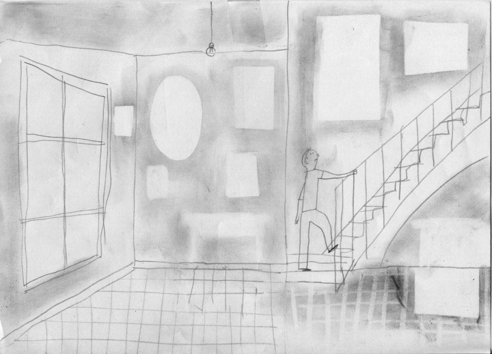 Alexander Fernandez Ilustrador: Aran ilustración blanco y negro de persona subienndo escalera y cuadros ausentes