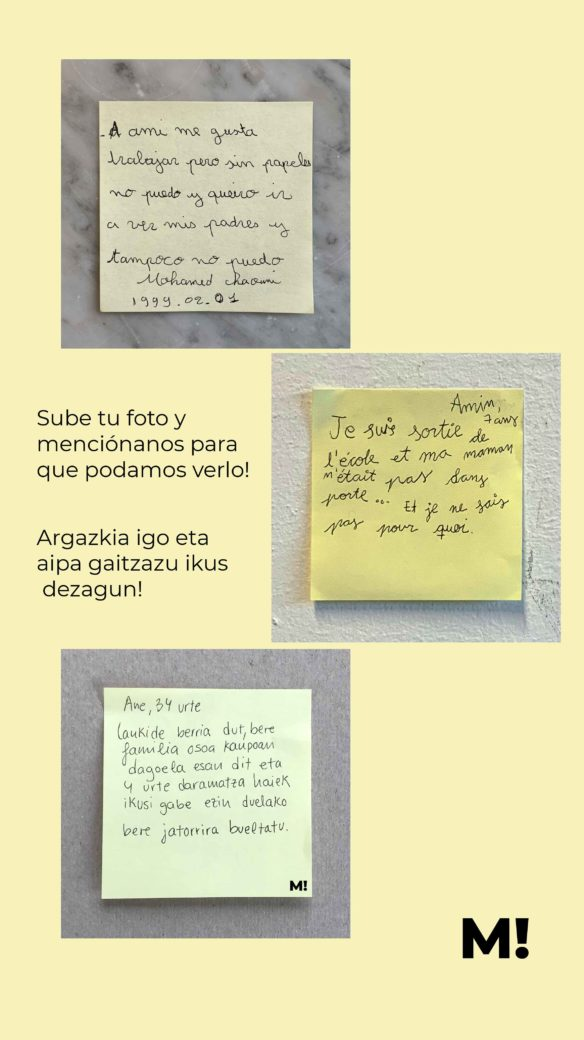 invitación a compartir post its con vivencias para stories de Instagram