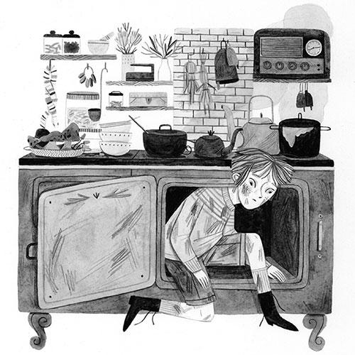 Leire Salaberria Ilustradora ilustración en blanco y negro de chico saliendo de económica