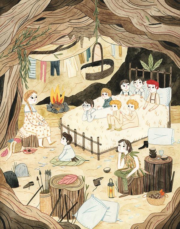 Leire Salaberria Ilustradora ilustración en color de cueva de Peter Pan