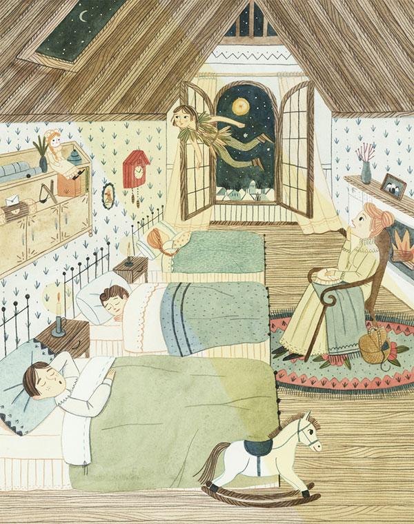 Leire Salaberria Ilustradora ilustración en color de Peter Pan entrando por la ventana
