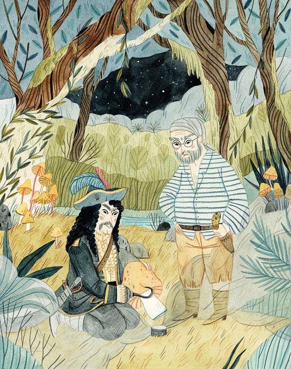 Leire Salaberria Ilustradora ilustración en color de piratas con capitan garfio