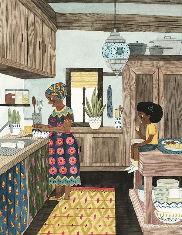 Leire Salaberria Ilustradora ilustración en color de señora africana cocinando y niña en la cocina