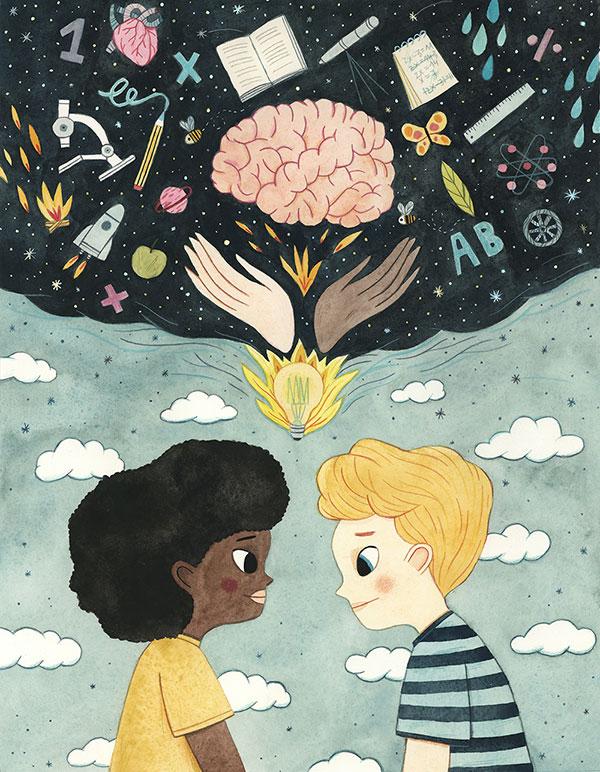Leire Salaberria Ilustradora ilustración en color de niños compartiendo imaginación