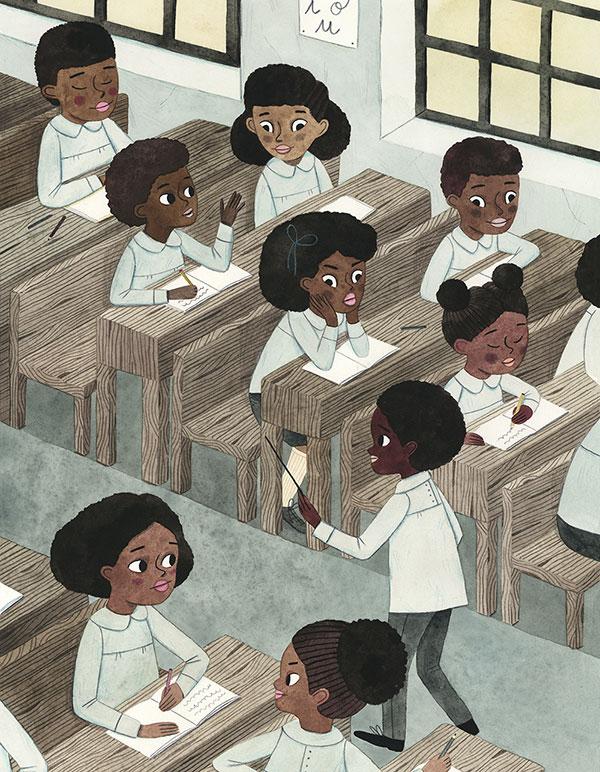 Leire Salaberria Ilustradora ilustración en color de escuela africana