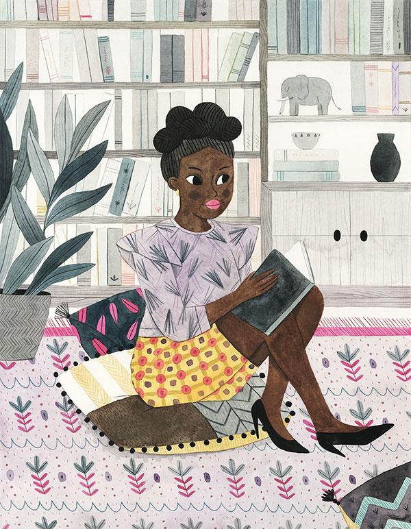 Leire Salaberria Ilustradora ilustración en color de señora africana leyendo
