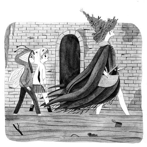 Leire Salaberria Ilustradora ilustración en blanco y negro de niños siguiendo a una bruja