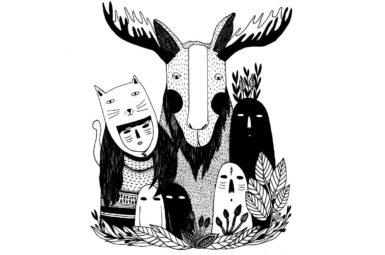 Pili Aguado ilustradora: personajes en blanco y negro. Imagen destacada.