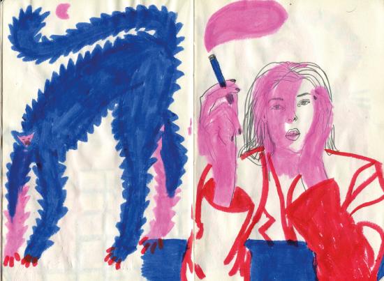 Sandra Garayoa ilustradora sketchbook gato y mujer