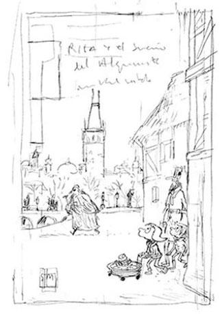 Mikel Vaverde ilustración Rita y el Sueño del Alquimista boceto