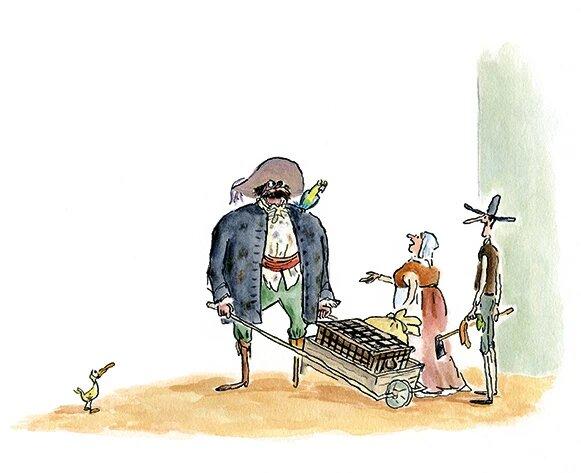Mikel Vaverde ilustración la balada del pequeño jack pirata con carretilla hablando con campesinos