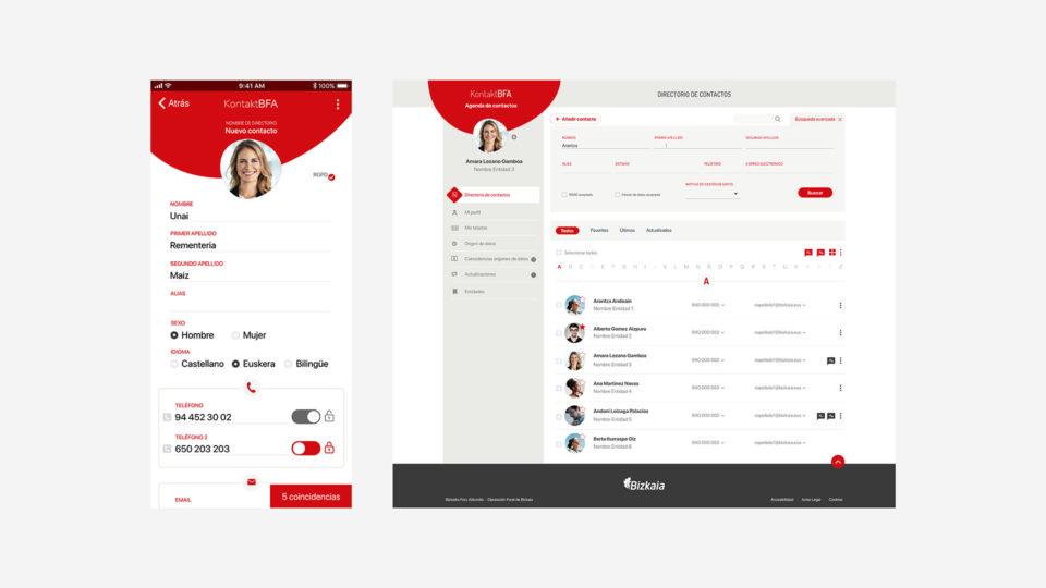 blau diseño web: diseño de la app de Kontakt BFA