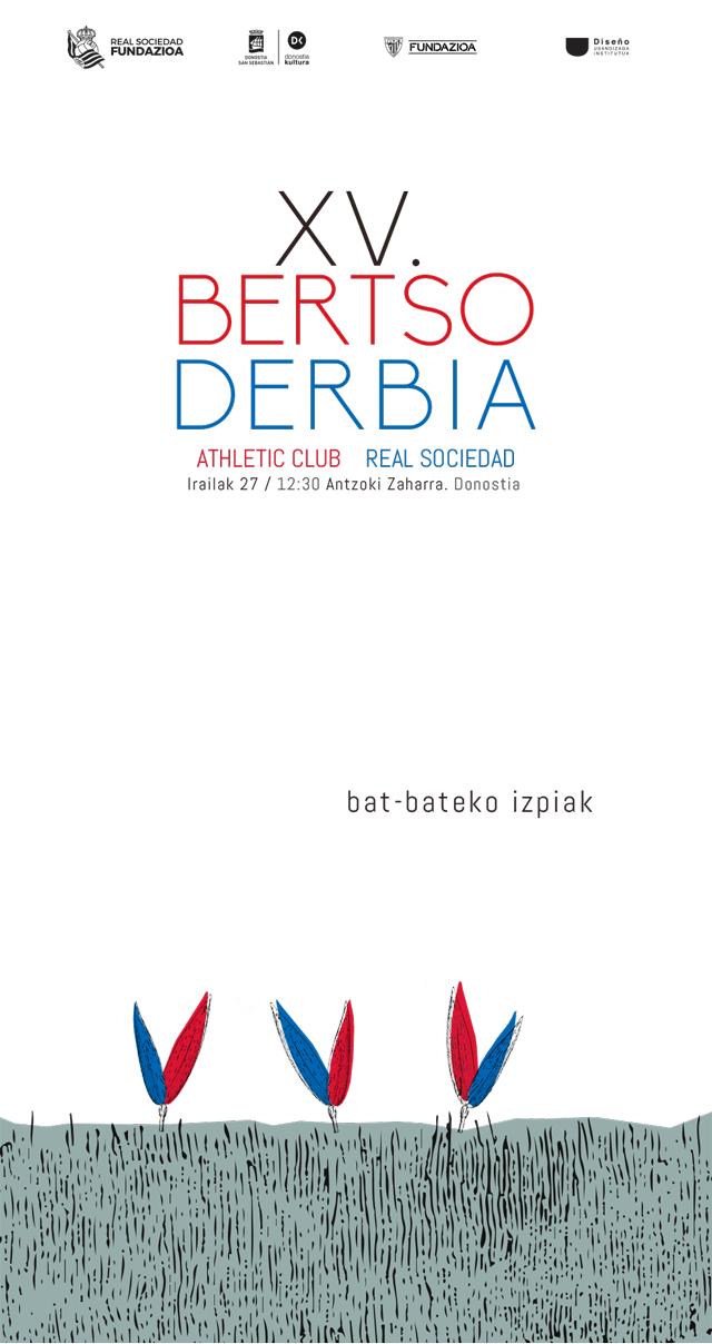 Cartel de fútbol Bertso Derbi. Briznas creciendo en el campo - Nerea Aginako