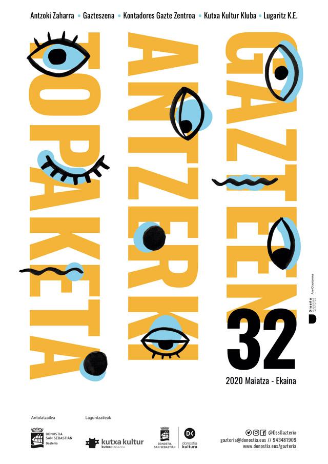 Gazte antzerki topaketak, cartel de teatro, diseñado por Ane Otxotorena