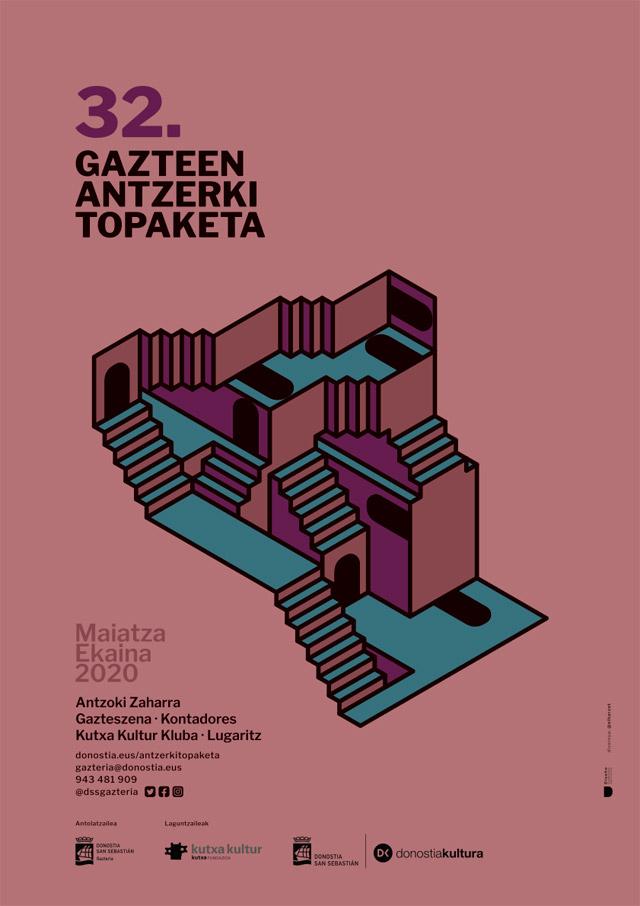 Gazte antzerki topaketak, cartel de teatro, diseñado por Ekaitz Tejedor