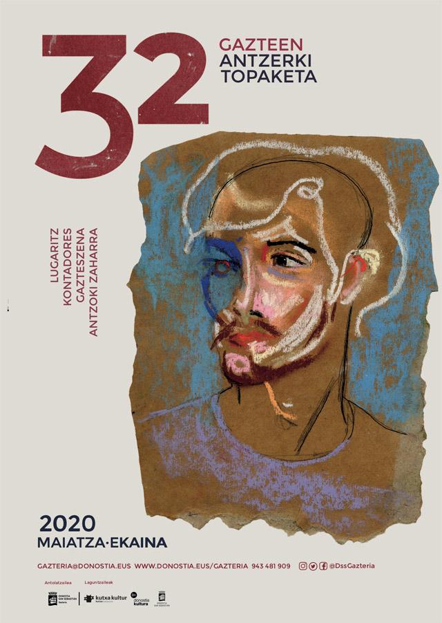 Gazte antzerki topaketak, cartel de teatro, diseñado por Nicole Sahonero