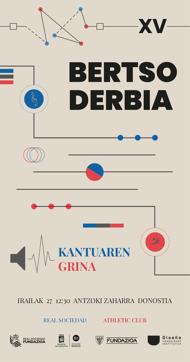 Cartel de fútbol Bertso Derbia 2021 en la calle- Diseño de Pablo Aldazabal