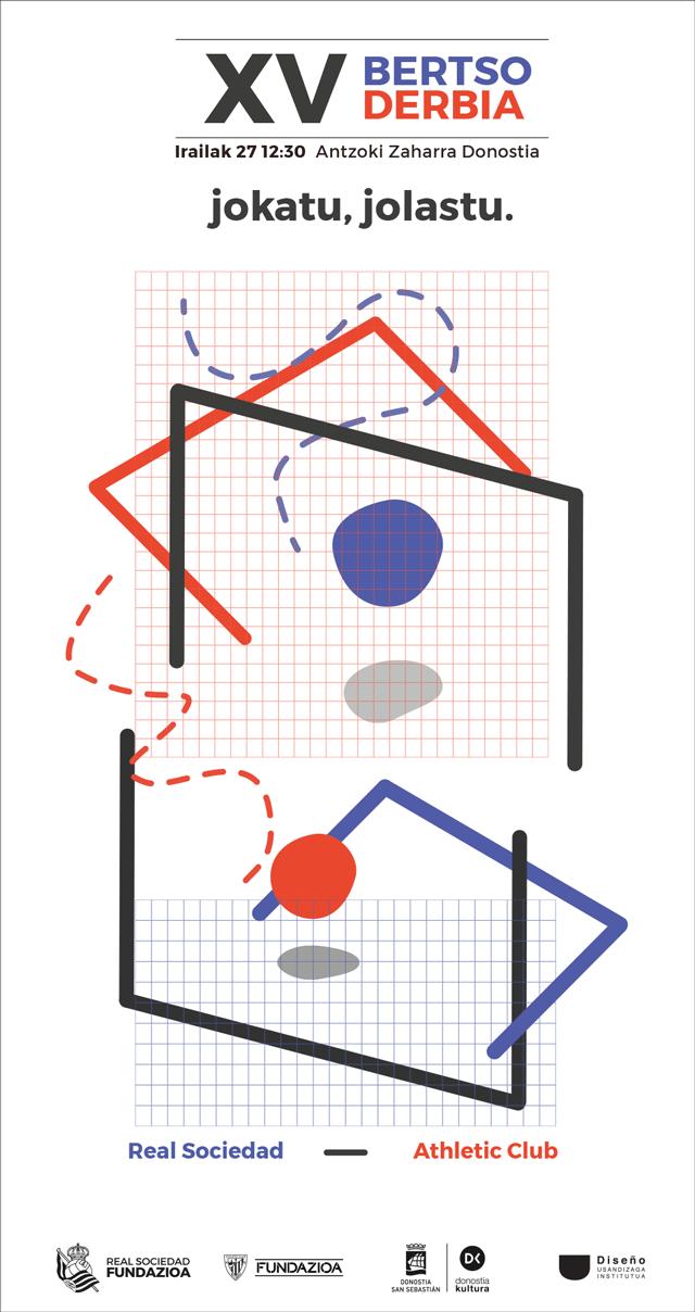 Cartel de fútbol Bertso Derbia 2021 en la calle- Diseño de Safia Samadi