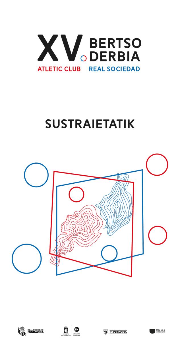 Cartel de fútbol Bertso Derbia 2021 en la calle- Diseño de Nikki Sahonero