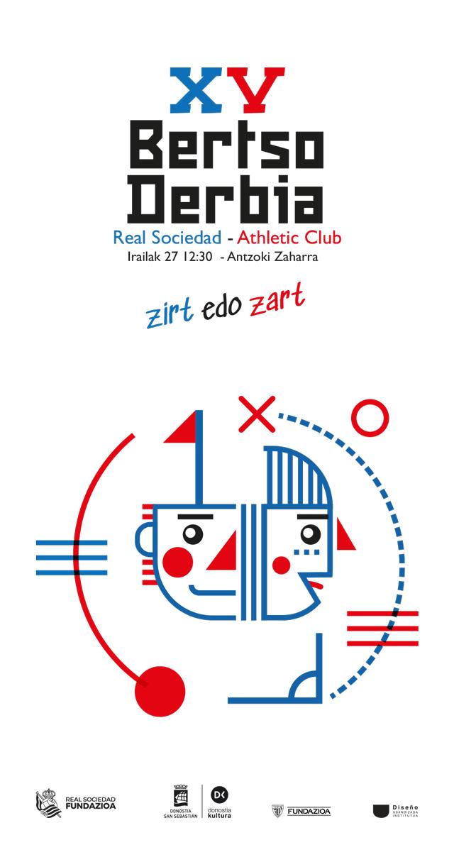Cartel de fútbol Bertso Derbia 2021 en la calle- Diseño de Ibai Jauregi