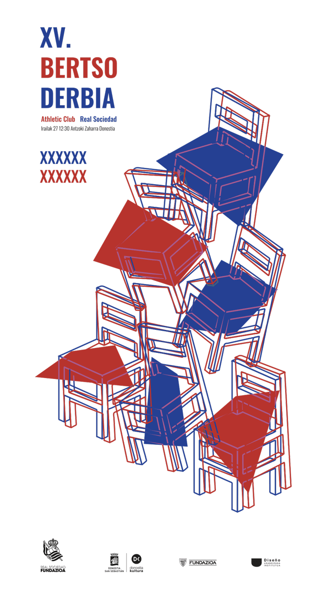 Cartel de fútbol Bertso Derbia 2021 en la calle- Diseño de Iñaki Urruzola