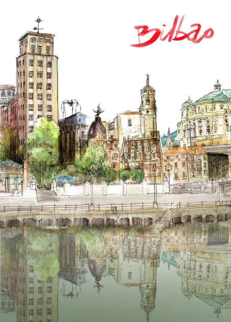 Alberto Muriel Ilustrador Bilbao Poster acuarela