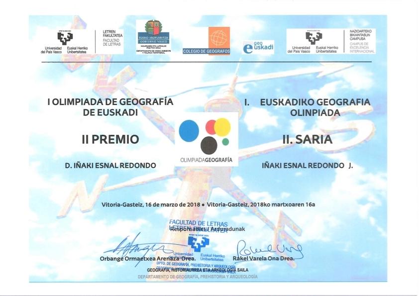 Diploma centro escolar y segundo clasificado